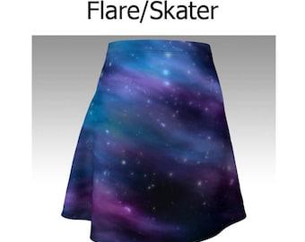 Galaxy Skirt, Night Sky Skirt, Blue Skirt, Purple Skirt, Flare Skirt, Skater Skirt, Fitted Skirt, Bodycon Skirt, Cute Skirt, Short Skirt
