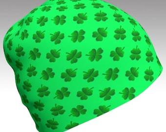 Shamrock Beanie, Green Beanie, St Patrick's Day, Festival Beanie, Gypsy Hat, Slouch Beanie, Printed Beanie, Unisex Beanie, Eco Friendly, Art