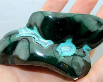 "Large Polished Malachite w/ Chrysocolla ""Malacolla"" Specimen (360g, Congo) Rare Natural Crystal, High Quality #MALCOL3"