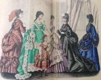 1870 Godey's LADY'S book leather bound COLOR FASHION plates, engravings ... Victorian Edwardian January-June antique