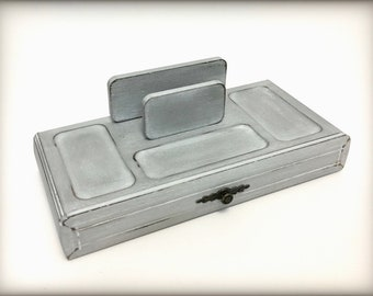 Grey Hand Painted Vintage Mens Valet, Solid Wood Catchall Tray, Father's Day Gift For Him, Mens Dresser Box, Phone Keys Desk Organizer, OOAK