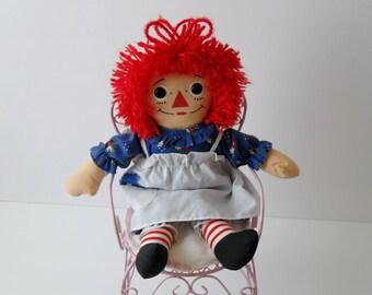 "Raggedy Ann Doll, Vintage Raggedy Ann Cloth Collectible Rag Doll, 12"" inch Cloth Doll, Girl's Bedroom Decor, 1980's Decor, Johnny Gruelle"