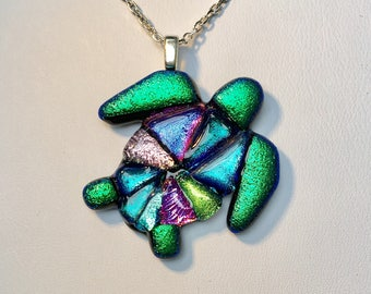 Fused dichroic glass, Turtle Pendant with Black Silicone Necklace or Sterling Silver Chain