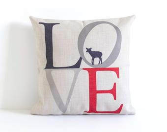 Love Text Pillow Cover, Decorative Pillow Cover, Throw Pillow, Pillow Cushion, Sofa Pillow, House Warming, Cushion Cover