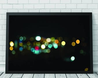 Night Lights Wall Art Print, Night Lights Blur, Light Blur, Printable Digital Download, Contemporary Photography, Photography, Abstract