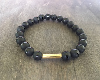 Black Onyx Men's Bracelet/Gem & Ceramic Bracelet/Black and Gold Men's Bracelet/Matte Black Onyx With Shiny Stripe Men's Bracelet/Men's Gifts