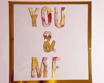 Frame Herbarium dried flowers - you and me