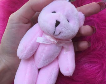 Plush pink teddy bear key ring/ key chain