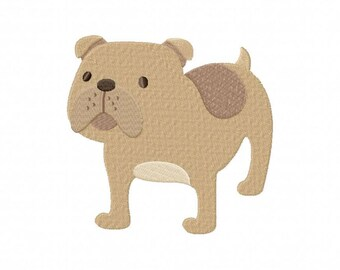 Bulldog dog puppy machine embroidery design