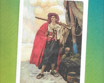 Howard Pyle - Pirates - Blank Greeting Card - The Buccaneer was a Picturesque Fellow - 1905
