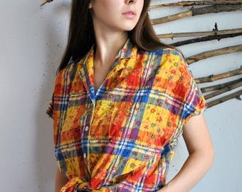 Plaid vintage shirt 1990s 1980s womens summer yellow red hipster 60s blouse