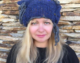 Knit Hat, Women Knit Hat, Slouchy Knit Hat, Chunky Knit Wool Hat
