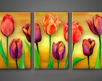Tulips wall Art, Art Print on Canvas,Extra Large Wall Art , Canvas Art, Home Art, Living Room Flower Picture, 3 piece wall art