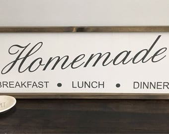 Kitchen Signs / Homemade Sign / Breakfast Lunch Dinner Sign / Farmhouse signs / Farmhouse Kitchen Decor / Large Signs / Framed Signs