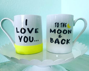 I love you to the moon and back 12oz couple mug set