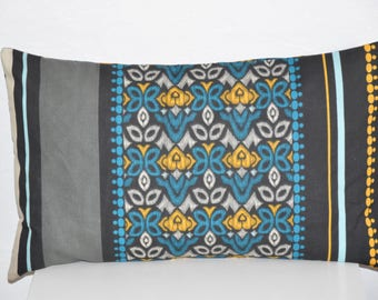 Pillow cover - 50 x 30 cm - geometric and abstract flowers print fabric - multicolors