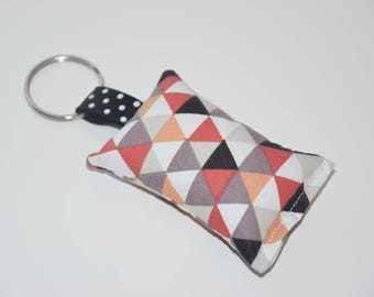 Keychain fabric pattern triangles - multicolored tones - gift idea