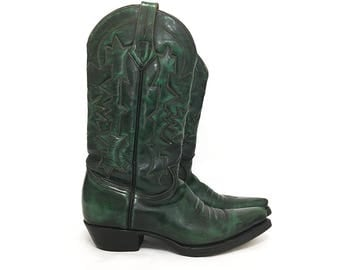 Green and Black Leather Cowgirl Boots
