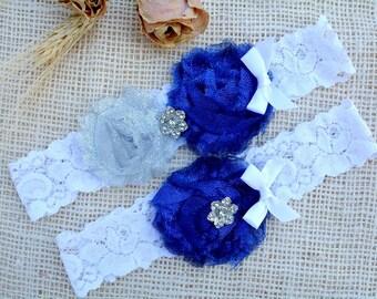 White Blue Garter, Grey Blue Garter, Glitter Garter Set, Blue Bridal Set, Somethig Blue, Garter For Wedding, Garter Set, Royal Blue Garter