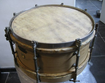 Antique wooden drum, marked L.Lambrecht Bruxelles with sticks and belt