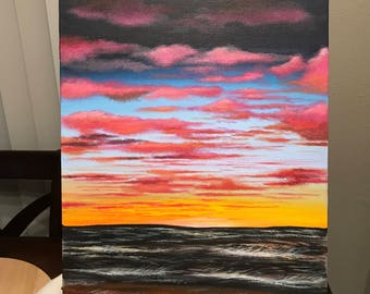 18 - Acrylic Painting, Ocean Sunset View With Clouds
