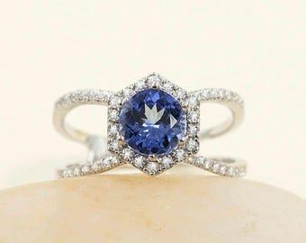 14k White Gold Hexagon Ring 0.43 Ct.F G - VS Diamonds 7mm AAA Tanzanite Engagement Ring &  Hexagon Design Tanzanite Diamond Ring.