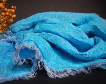 Linen Blue Scarf, Women Accessories, Linen Gift