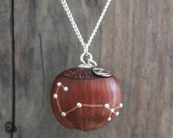 Scorpio zodiac sign necklace / Wooden hazelnut necklace / real hazelnut / fairy tale jewellery / nature lover / star sign / engraved