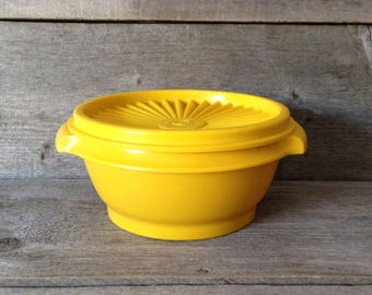 Vintage Yellow Tupperware Servalier Container # 1323 with lid