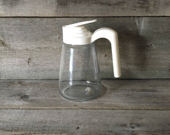 Vintage Gemco Glass Syrup Dispenser with white plastic lid.