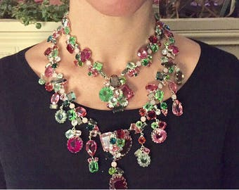 Fabulous Robert Sorrell Scrumptious Spring Necklace/Bib  in Pinks+Greens Rhinestones. Signed
