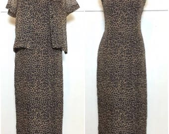 SALE 90s Leopard Print Dress & Top