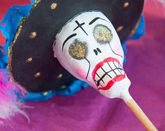 Handmade Day of the Dead paper mache rattle