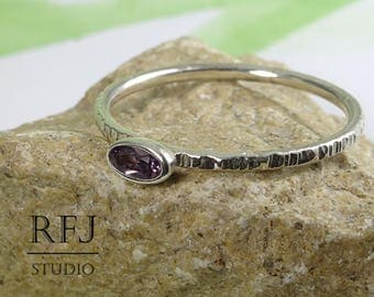 Oval Synthetic Alexandrite Silver Textured Ring, June Birthstone Oval Cut Alexandrite Ring Stacking Minimal Sterling Silver Alexandrite Ring