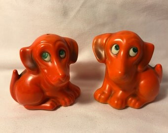 Vintage Kitsch Orange Puppy Salt and Pepper Shakers