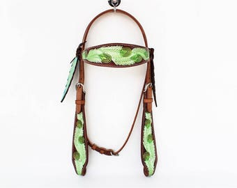Lime Green Peacock Feather Tooled Western Horse Tooled Cowhide Leather Trail Cowboy Bridle Headstall Tack