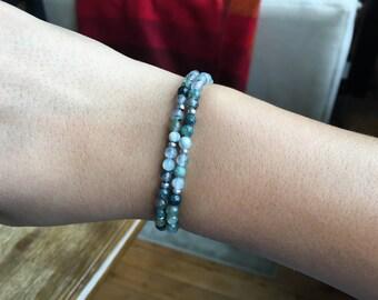 Gray Moonstone Beaded Bracelet