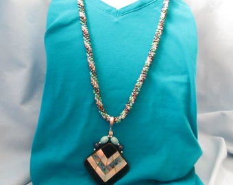 """Kumihimo Braided Necklace W/Pendant or Worn Without ,-Spiral of 5 Different colors : Dark & Light Blue, Green,White- Handmade-27"""" Length"""
