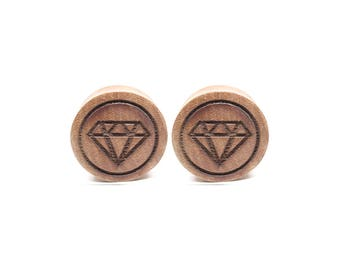 Diamond - organic sawo wood double flare plug
