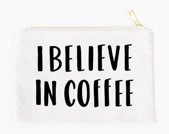 Coffee bag / cosmetic bag / makeup pouch / zipper pouch / white bag / typography bag / make up pouch / gift for her / coffee lover