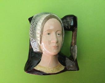 """Royal Doulton Toby Jug """"Anne Boleyn"""" D 6651 miniature 1975"""