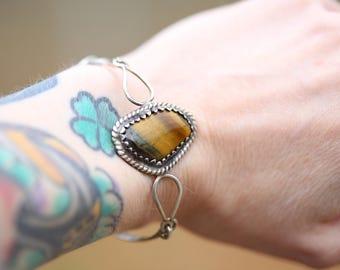 Vintage southwestern Tiger Eye Sterling Silver Cuff Bracelet