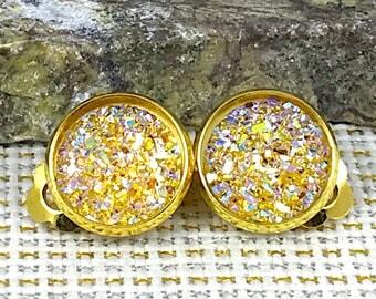 Yellow Druzy Clip On Earrings - Drusy - Clip On Earrings - Earrings - Non Pierced Ears - Yellow Clip Ons - Druzy Clip Ons - Yellow - Jewelry