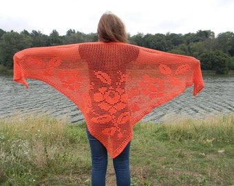 Crochet shawl for bridesmaid halloween gift with roses summer Bridal shawl orange gift for wife evening shawl knitted hand crocheted