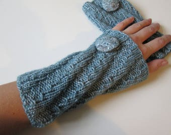 Warmers/cuffs/knitted/wool/turquoise/aquamarine/ice blue/light blue/Christmas present/warming/warm/cuddly/gift girls women