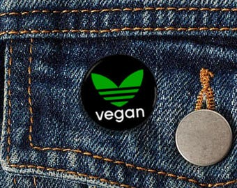 "Vegan Adidas 1"" Pinback Button - Vegan, Vegetarian, Animal Rights, Animal Liberation, Veganism, Activism"