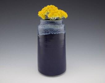 Dark Blue/Sea Foam Handmade Ceramic Vase, Flower Vase, Art Piece, Flower Pot