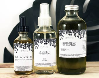 Skincare Kit: SENSITIVE SKIN - Canada 8 oz cleanser, toner & moisturizer, Canada serum skin care, Canada face oil, essential oils Canada