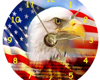 American Bald Eagle with Stars and Stripes on a cd clock plus stand