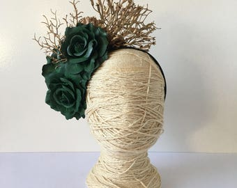 Hunter Green Roses with Gold detail on a hearband / Racewear headband / Fascinator / Statement Piece